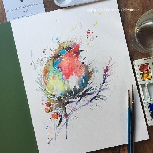 Robin Berries Original Painting