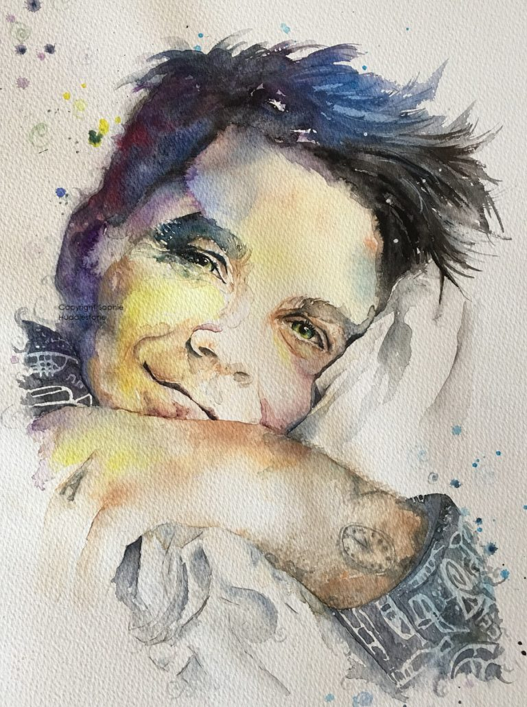 Vealer, portrait of Robbie Williams by Sophie Huddlestone 2018, size 40cm x 30cm. An intelligent creative person with a rainbow of talents, the imaginary clock tattoo represents music (because music takes you to the time you remember it most). The 2 o'clock represent Ayda & him - the 2 of them were meant to be, and also timing & fate. Called this painting 'Vealer' (anagram of Reveal) as perhaps he's like a young calf to the slaughter of fame. With this I tried to make the eye nearest the pillow more focused as if inviting you to lie beside him. I was thrilled when Robbie's dad liked this painting on Twitter, it has encouraged me even more to continue with portraiture.