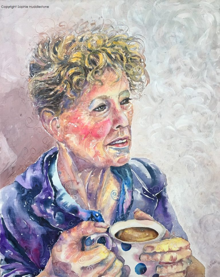 "Tea Break, portrait in watercolours and oil paints size 20"" x 16"" by Sophie Huddlestone 2018. A cup of tea is so much more than just a drink, it is a time to be a good friend while chatting or to daydream alone and collect your thoughts. Even sitting still the energy swirls from a person."