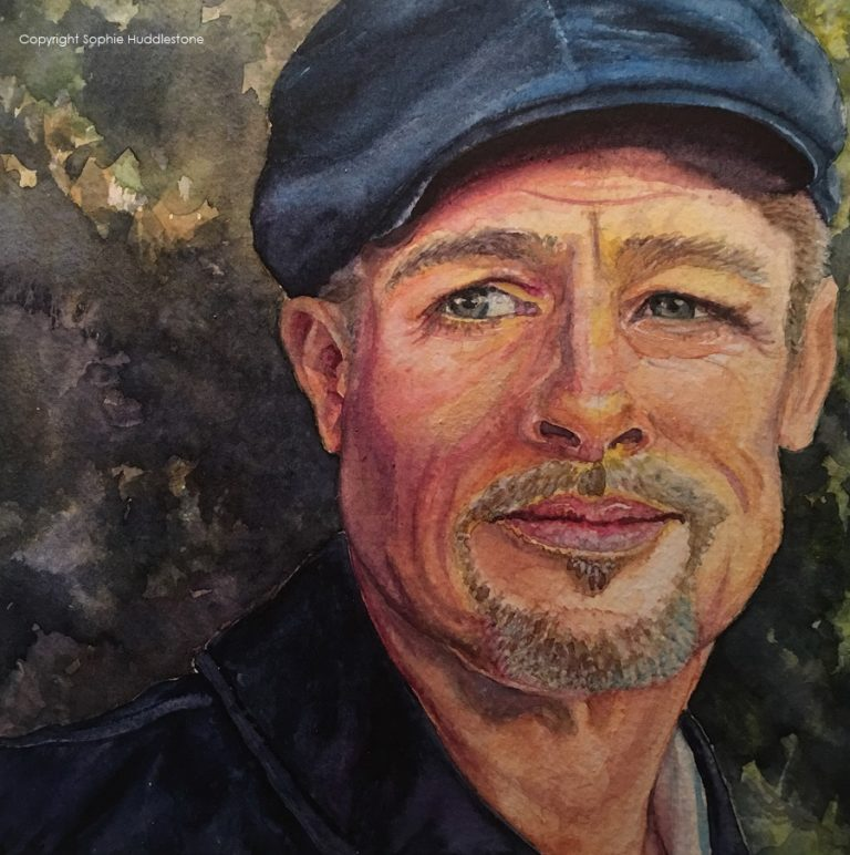Zest for Life, watercolours size 7 inch x 7 inch Brad Pitt 2018 portrait by Sophie Huddlestone.  I wanted to catch a thoughtful look in his eyes and add lemon zest colour to represent the beginning of his new life starting after his breakup with Angelina Jolie.