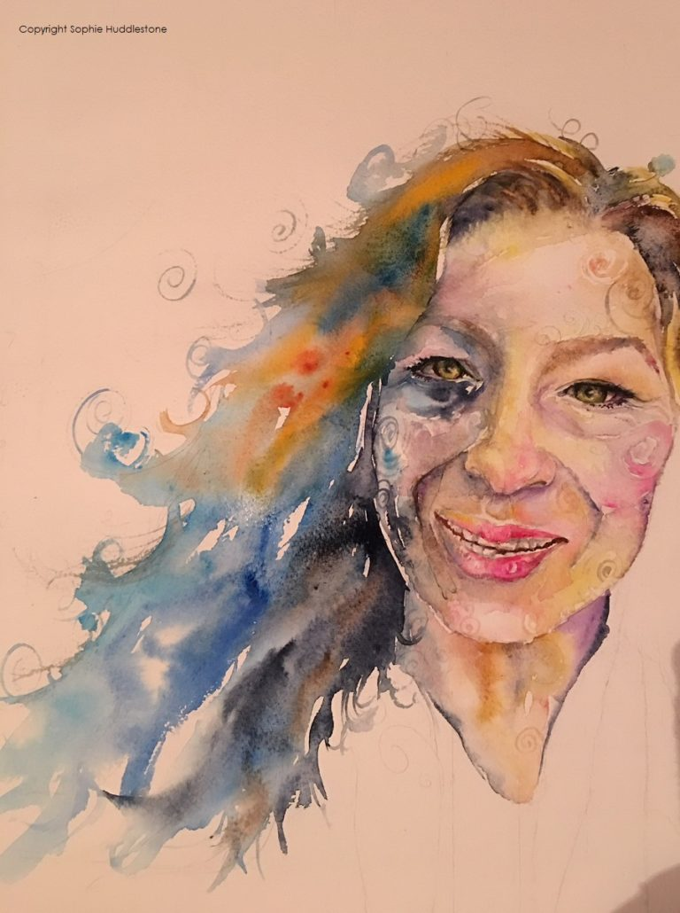 "Tired eyes smiling, self portrait by Sophie Huddlestone 2018, on a walk out feeling exhausted inside with a smile on my face, to hide it. Watercolours size 16"" x 12"" by Sophie Huddlestone. This was trying a more patterned style of self portrait and I wanted to do more portraits in this style, but those around me said it looked ugly and to instead I should try more of the realistic looking portraits. Maybe I will tone it down a bit for the next few portraits and then try this patterned loose style again next year when I have more portraiture experience."