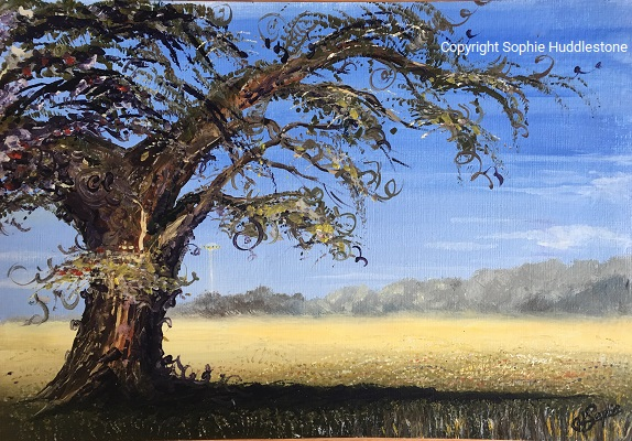 Tree Fields Landscape UFO, size A4 oil painting Copyright Sophie Huddlestone