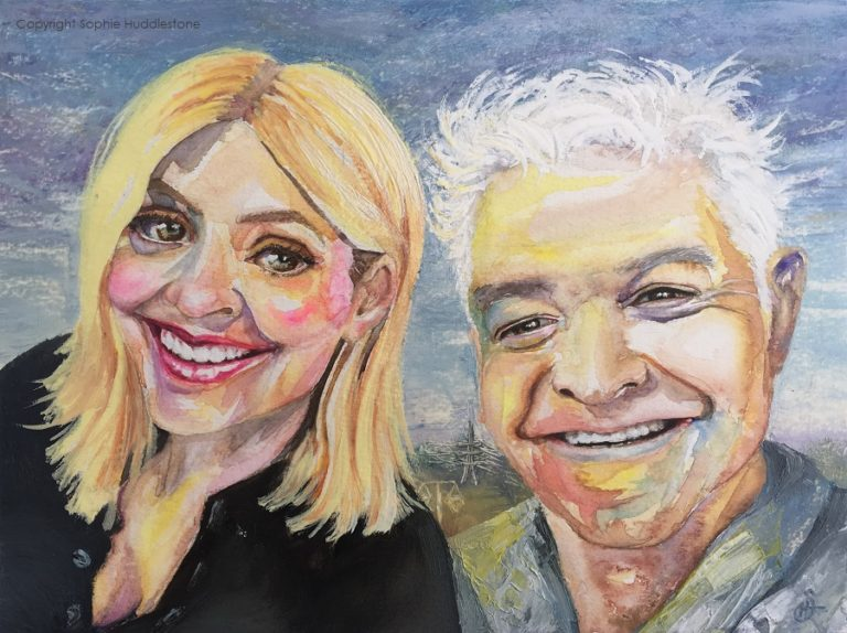 "'Pylon the Entertainment', This portrait of Phillip Schofield and Holly Willoughby has two different electricity pylons in the background. After almost a century of the ""Lattice"" pylons the National Grid decided a new ""T-pylon"" design was required as we move away from coal and towards other forms of generation such as wind, solar and nuclear. The first ""T-pylon"" was in Nottinghamshire April 2015, and has they have since been nicknamed Pat Butchers earrings LOL. I like to add slight details which capture something about our way of life, it's kind of like leaving a visual post it note for the future generations, as paintings live a lot longer than we do. It is also a change of background from buildings to fields because the usual ITV building is now closed down and ITV has moved, after almost half a century. Watercolours and oil paints, 12"" x 9"" canvas By Sophie Huddlestone 2019."