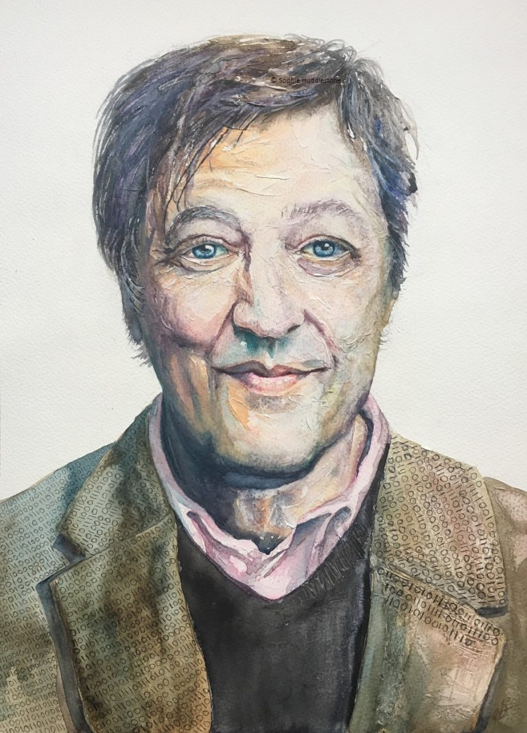 Machine And Mind, Inspiration from an photograph of Stephen Fry. A few areas of 3D paste were added for interesting textures. The human element and computers is the narrative, with a message on the jacket.  Although I paint in a looser style I still try a realistic portrait from time to time to refresh myself with proportions and tone. Painted in watercolours. Size approx A3 (297mm x 410mm) By Sophie Huddlestone 2019