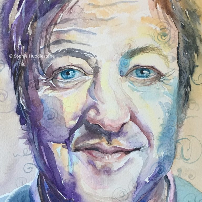 "Cool To Be Square, Inspiration from Stephen Fry. This painting is more to my usual style. It started off A3 size with a similar composition to the next portrait on here but I decided that just the face cropped closely made a better statement for the narrative that this guy is pretty darn cool in the square that some folks think he may fit into. Celebrities fascinate me, yet the thought of being one would actually be my worst nightmare as I love being an ordinary gal. Years ago 'square' was also a name calling that intelligent people faced. Painted in watercolours around 7"" x 7"" by Sophie Huddlestone 2019."