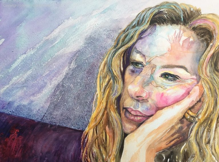 "The Subconscious Knows, Self Portrait, size 16"" x 12"" watercolour by Sophie Huddlestone 2019. After painting a few portraits I thought I'd re-paint this to see if I had improved. The tiny red dot in one eye is to represent how our filters and technology no longer gives us all 'red eye' on pictures these days. The woman curled up on the nose is telling my subconscious to start painting my ideas, instead of privately pondering over them in the shadows. Painting helps me to vent the deep unusual conversations which shyness prevents. When talking to people my mind is distracted easily with rushes of unusual creative ideas. My lack of attention can sometimes be difficult so I prefer to socially blend into the walls and let my hubby do the talking."