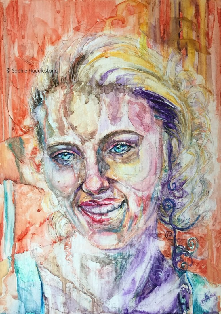 Portrait of Scarlet Smile by Sophie Huddlestone 2019. This is size A3 on an oil board but it is painted in watercolours and 3D texture paste. I based the idea of this portrait on Scarlett Johanson. As the paint ran and dribbled the shoulder strap was extended to become three shoulders. The freedom of the paint combined with my imagination decided that as it was a red carpet event (photo reference used) and the poses that celebs do are switching from shoulders and angles as the camera snaps.