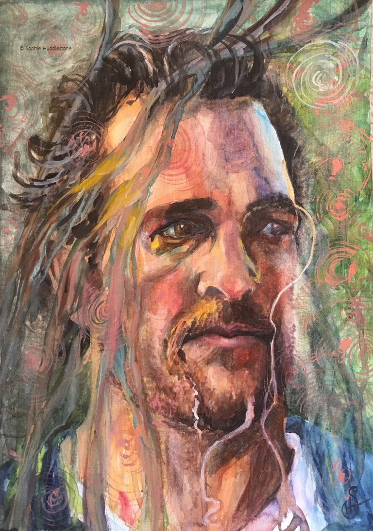 Catch That Fish, Portrait inspired from Matthew McConaughey's latest film, watercolour on paper, size 14inch x10inch by Sophie Huddlestone 2019. Forcing watercolours to dribble and dance created more subtler tones compared to the brighter colours which I am known for. If you have watched the recent film Serenity, you will understand why I decided on a hook around the eye (my interpretation of catch that fish) and the background / foreground is fragmenting into floating shapes. All the photos on the internet of this guy were too handsomely posed so I paused the film near the end and that was my reference of Matthew McConaughey to paint from.