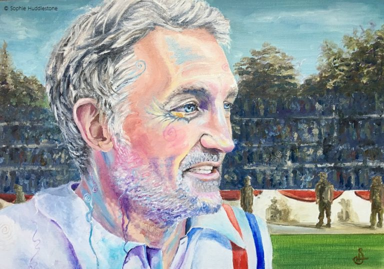 "Portrait commission for Russell Osman, Oil paints on a 50"" x 35"" canvas by Sophie Huddlestone 2019. With all his achievements it was difficult to decide on a portrait theme and he was happy to give me complete creative freedom. He acted in the film Escape to Victory, Indian Super league football expert, TV Co-commentator, former footballer for England etc.  He kindly posted the portrait I did for him on his Instagram @russosman and his Twitter @RussellOs5. I decided to combine the past and present by adding the Escape to Victory background and shirt from 38 years ago, but to paint him as he is today adding my signature abstract swirls."