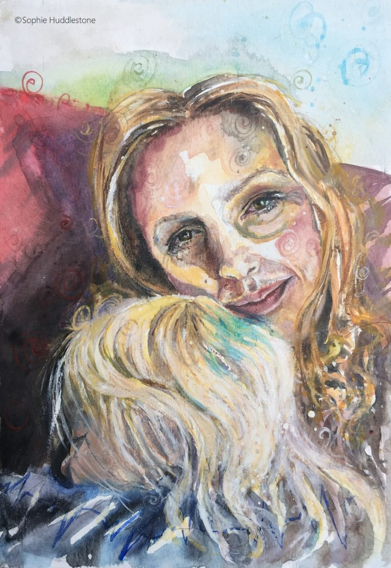 "Cuddles, a self portrait in watercolours and oil paints, size 12"" x 9"" by Sophie Huddlestone 2019. Every parent will recognise this tired but contented look. The moment when your child falls asleep in your arms after a busy day. A quick sketchy painting to experiment with warm colours. As the painting is about the emotions of motherhood I used warm colours on the adult, and the cooler colours to fade focus away from the child."