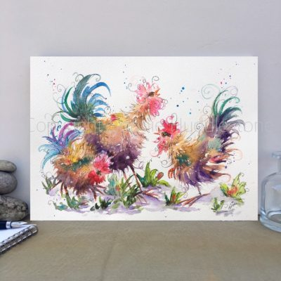 Chicken Trio Original Painting