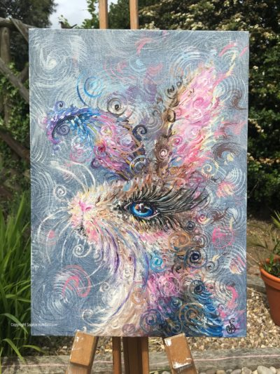 Swirly Whiskers Rabbit Original oil Painting