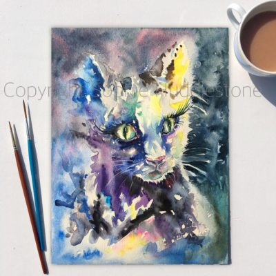 Cat Lit Night Original Painting
