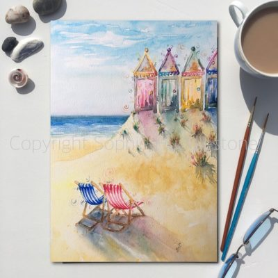 Seaside Seats Beach Huts Original Painting