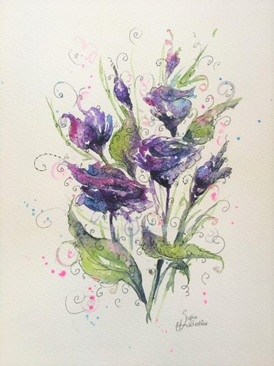 Purple Flowers Swirl Original Painting