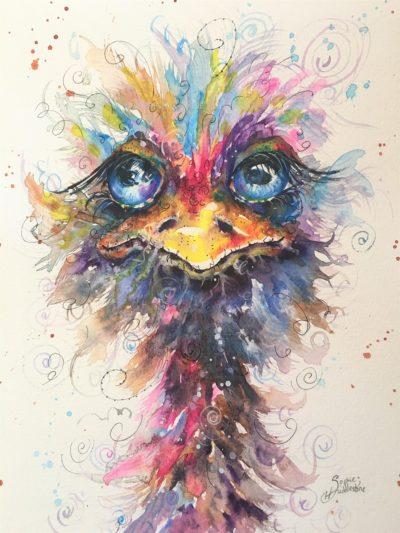 Blue Eyed Ostrich Original Painting