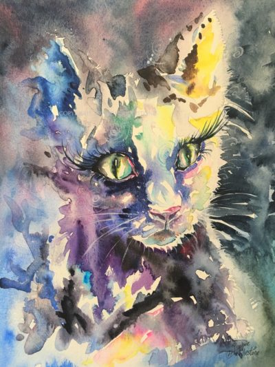 Cat Lit Night Original Painting