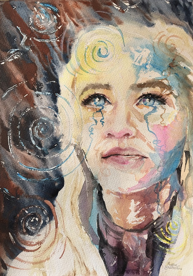 "Emilia Clarke portrait In the hit series Game of thrones Emilia played the roll of Daenerys Targaryen. Going back to my roots of swirly looser style portraits. Painted in watercolours with texture medium added in the background. Size 14""x10"" on watercolour paper. By Sophie Huddlestone 2019"