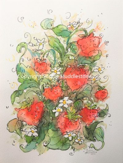 Strawberry Plant Original Painting