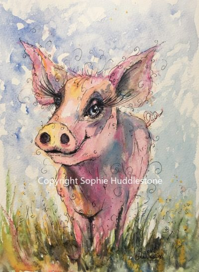 Swirly Pig Original Painting