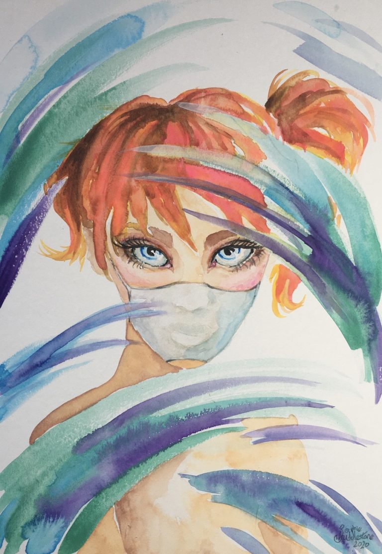 Girl in the mask a Manga style portrait by Sophie Huddlestone. Watercolours on media board size 29.7cm x 21cm (approx A4) and 0.4cm thick, by Sophie Huddlestone 2020.