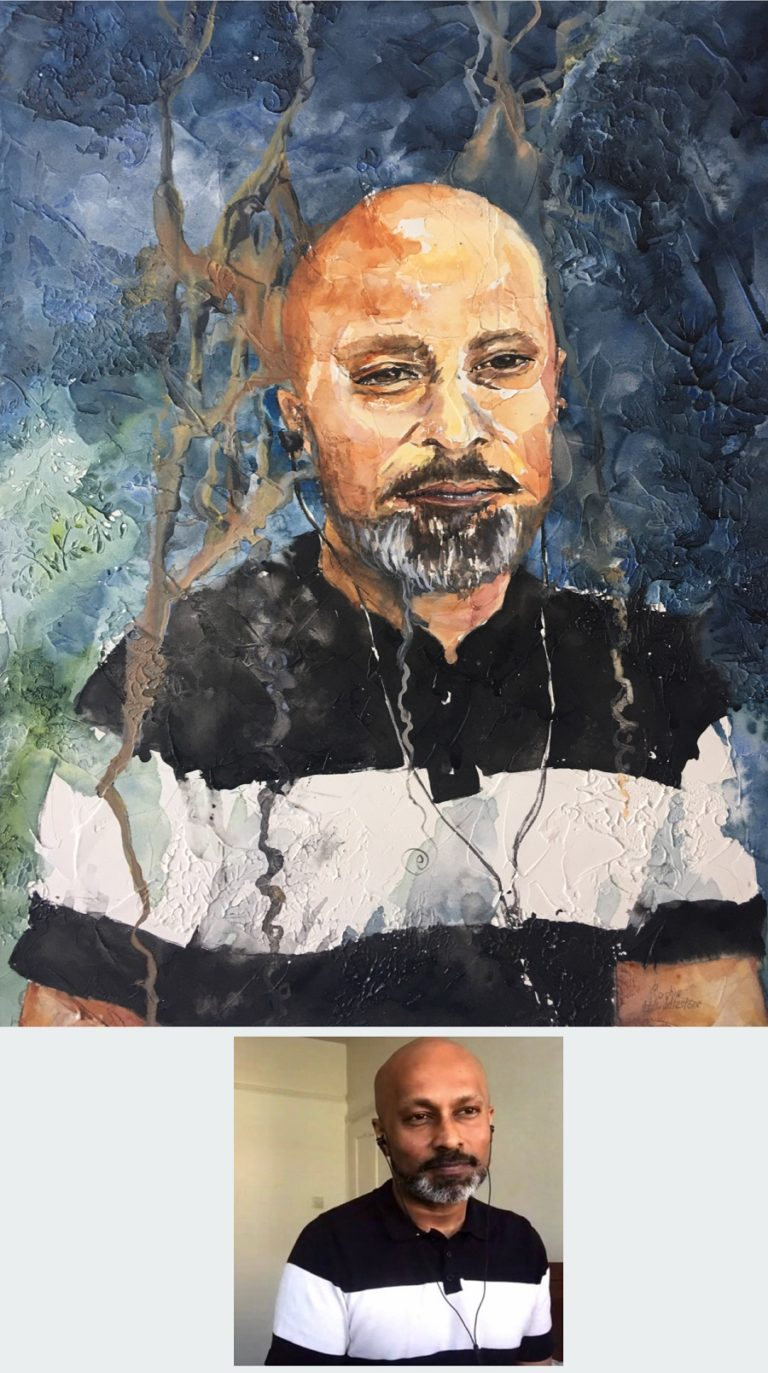 TEXTURED WATERCOLOUR - Portrait of Akram Khan by Sophie Huddlestone. Textured watercolour size A3 on media board 0.4cm thick, by Sophie Huddlestone 2020.