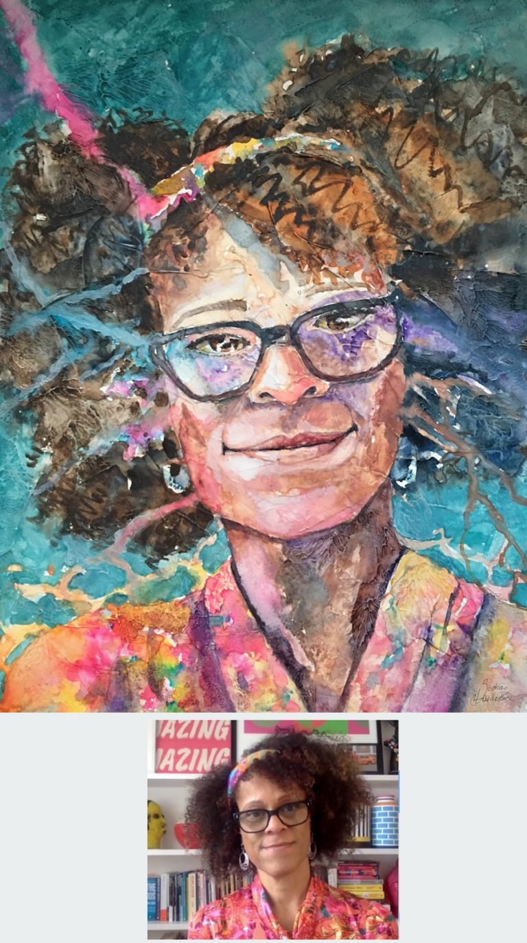 TEXTURED WATERCOLOUR - Portrait of Bernadine Evaristo in Textured watercolours size 12x9 inches on watercolour paper, by Sophie Huddlestone 2020. Lively colours for a lively character.