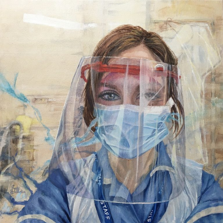 OIL PORTRAIT - This is the NHS oil portrait I've done as part of wonderful initiative instigated by Tom Croft. It is of ICU nurse Hayley Bissett from Barton-Upon-Humber who was nominated by her sister Penny Wright to have a free portrait painted by me. Hayley works long exhausting shifts, we communicated about the portrait via messages inbetween her night shifts. Even though her own father sadly passed away in May she has managed to put her own emotions to one side and continue to carry on with strength and warmth, continually caring for others. The painting is in oils on a canvas size 40x40cm by Sophie Huddlestone 2020.