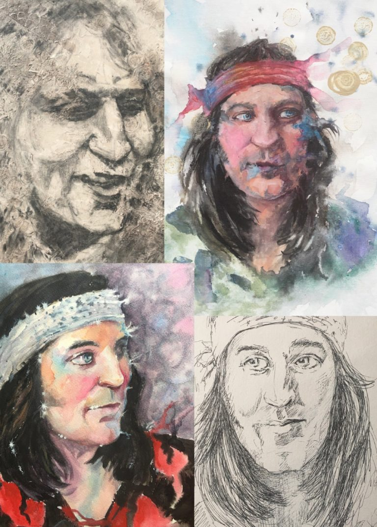 WATERCOLOUR, PEN and CHARCOAL - a selection of portrait sketches of Noel Fielding. The ink pen drawing at the bottom right was selected for the floating wall gallery on Portrait Artist Of The Week television program, on Sky Arts. 2020 By Sophie Huddlestone.
