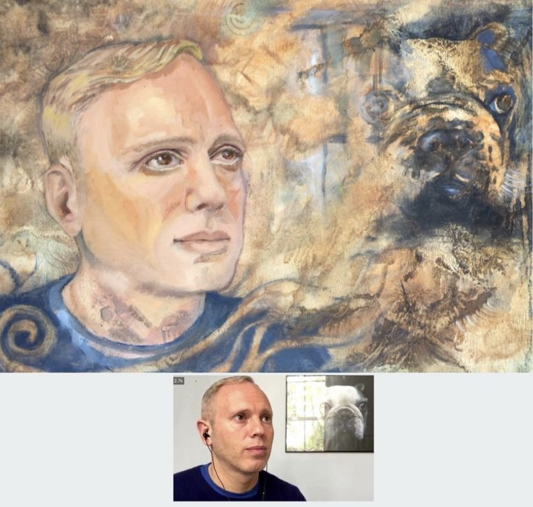 WATERCOLOUR & OIL PORTRAIT - portrait of Judge Rinder in oil paints and watercolours on canvas board size A3. The reflection below the dog appeared while mixing splashes of colour for a background, it was not intended, but triggered the ideas on how to develop the portrait composition and feel. By Sophie Huddlestone 2020.
