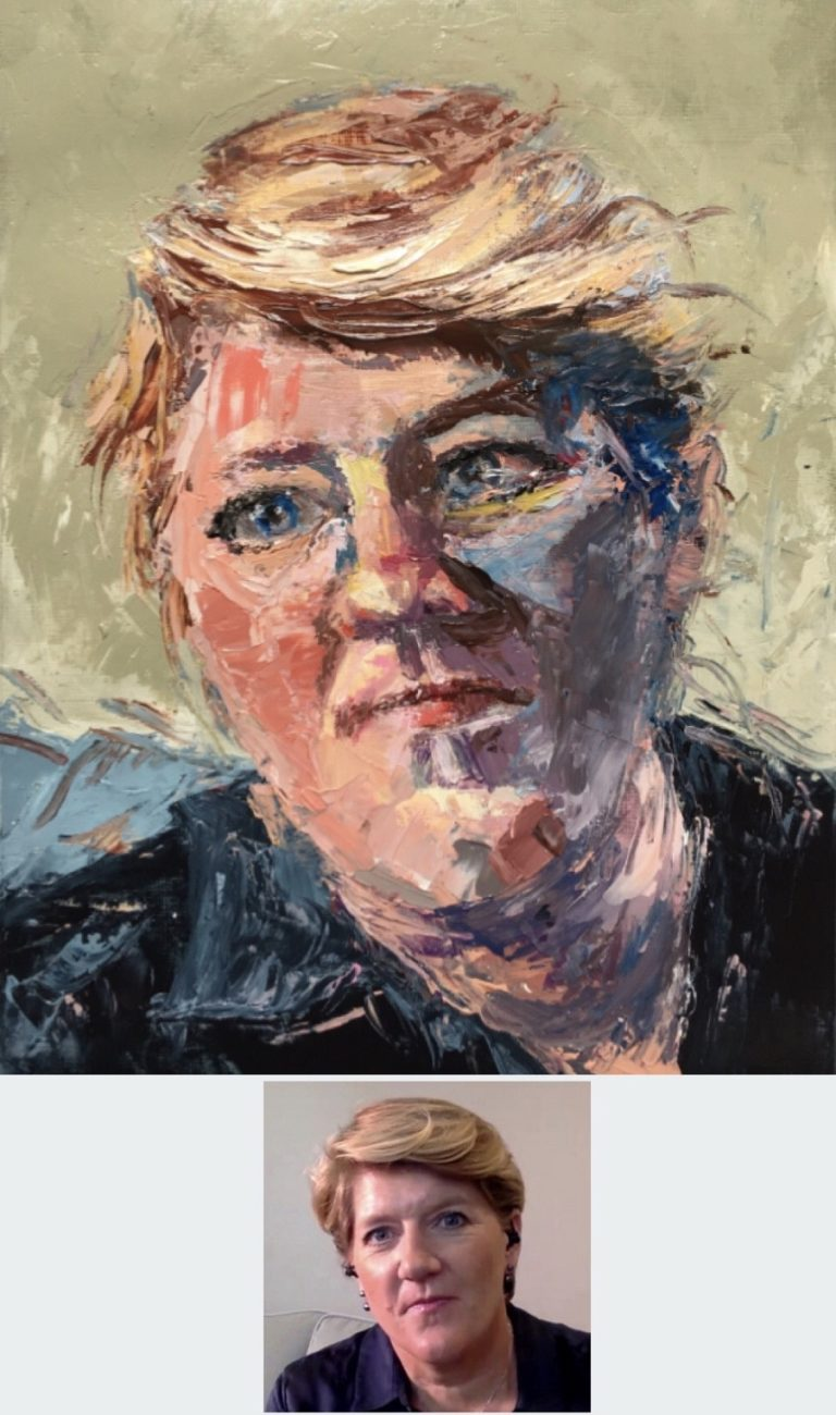 OIL PORTRAIT - Portrait of Clare Balding. I painted this one by using a palette Knife, oil paints on size A4 canvas paper. 2020 by Sophie Huddlestone
