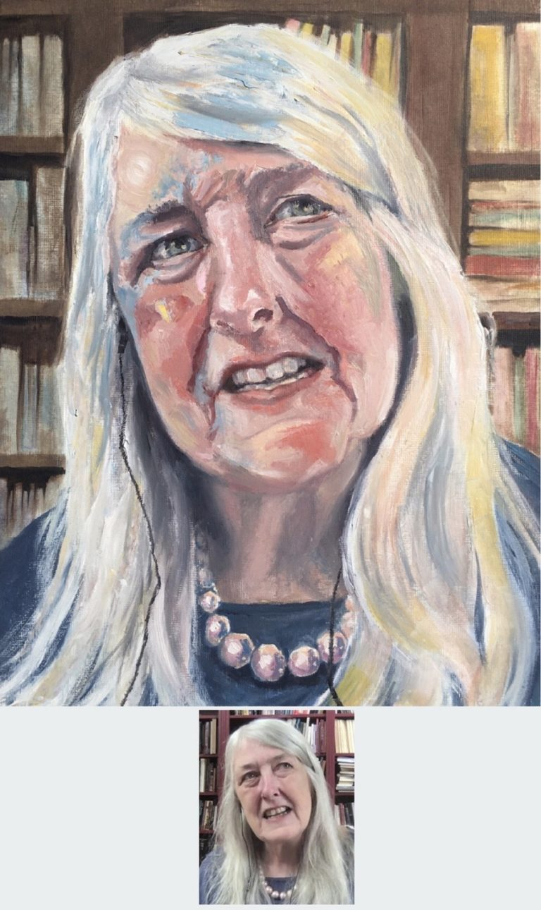 OIL PORTRAIT - of Dame Mary Beard painted in oil paints on 14x10 inch canvas textured paper. A portrait of Mary in mid conversation. The background has a variety of colours on one side of the book shelf and keeping just to the cooler blue and brown shades on the other side, this is to focus the direction of her gaze as being present in colourful conversation which lights up the room. 2020 by Sophie Huddlestone.