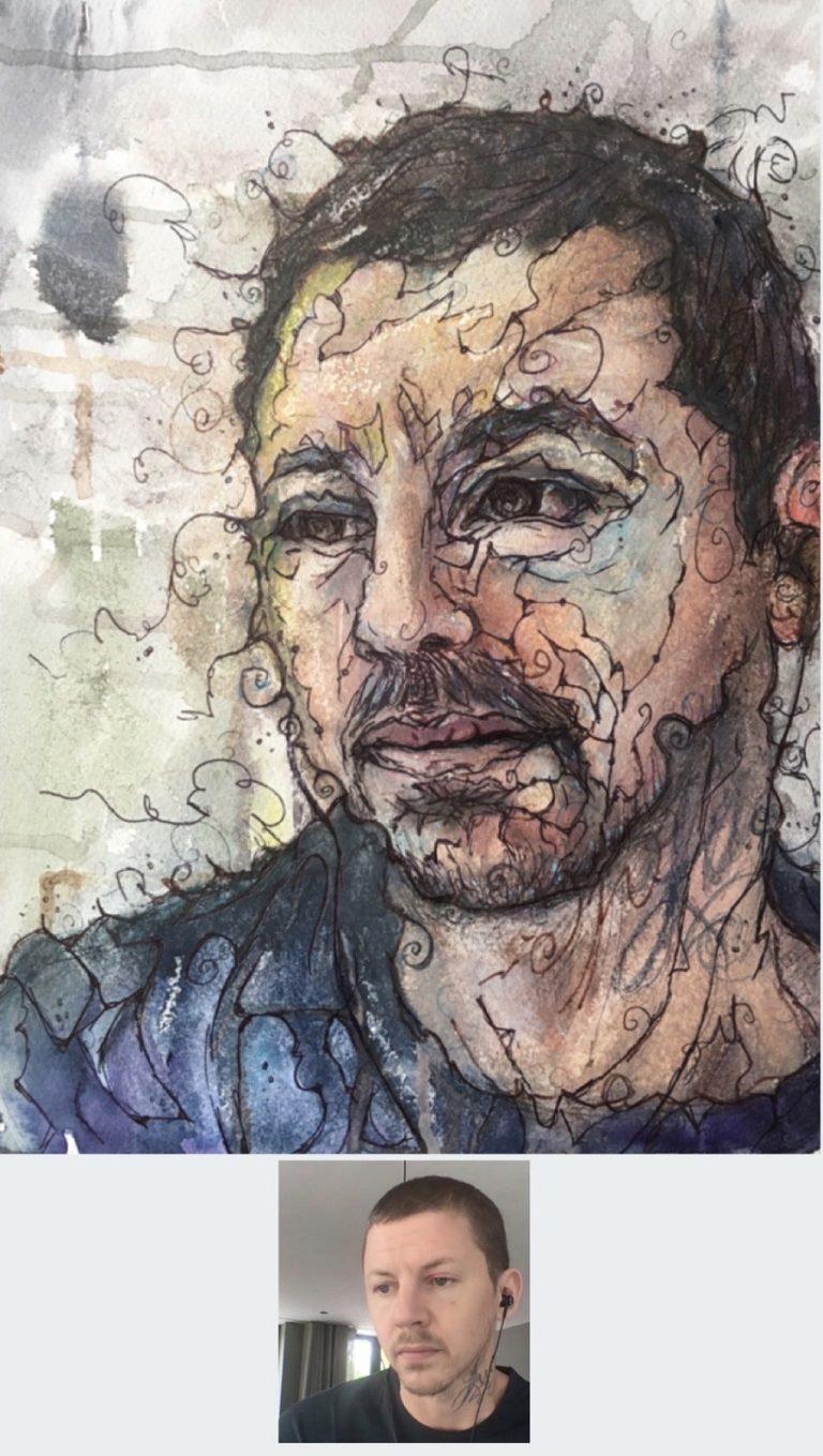 WATERCOLOUR and INK - portrait in a patterened abstract style of Professor Green. Created with watercolours, ink and wax on size 14x10 inch watercolour paper. 2020 By Sophie Huddlestone