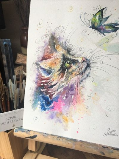 Playful Butterfly Cat Original Painting