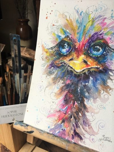 Blue Eyed Ostrich Original Painting