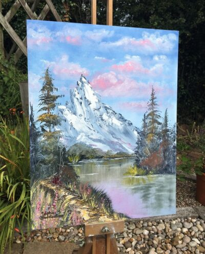 Mountain Woodland River original large oil Painting