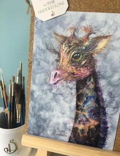 Swirly Giraffe oil painting print
