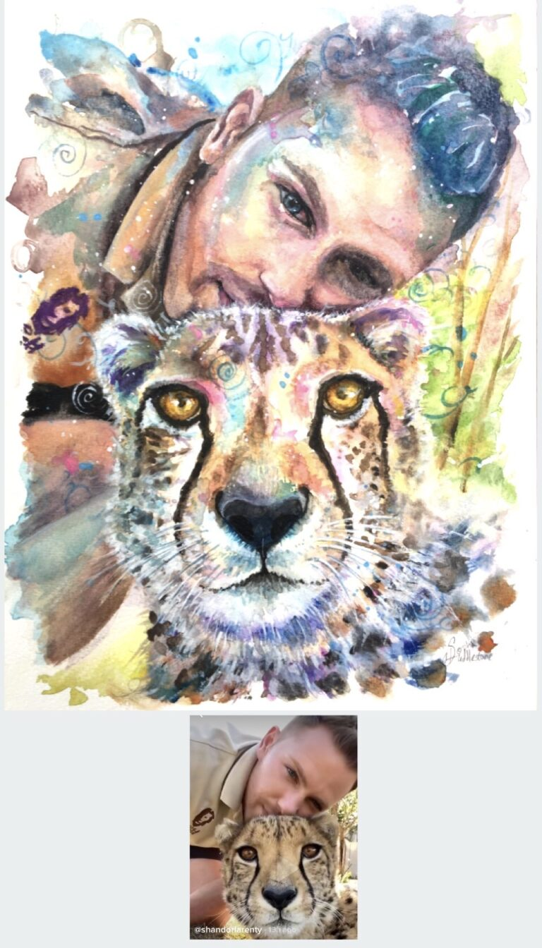 "Watercolour portrait - of Shandor Larenty from the Lion and Safari park in South Africa. I wanted to capture the warm connection he has with his animals with a contemporary colourful style. Painted onto watercolour paper size 12"" x 9"". 2020 by Sophie Huddlestone."