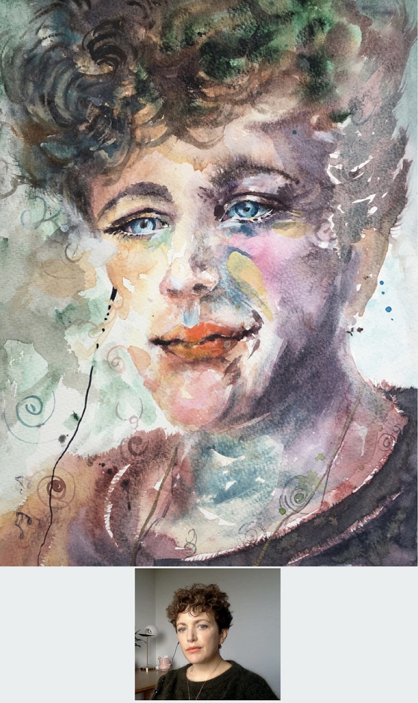 "Watercolour - Portrait of radio DJ Annie Mac size 9"" x 12"" by Sophie Huddlestone 2020"