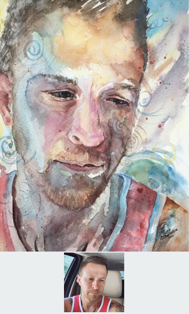 "Watercolour - portrait of Robert Sims, size 12"" x 9"" called 12 positive vibes. By Sophie Huddlestone 2020. To watch this painting being created you can view a post on my TikTok @swirlysoph"
