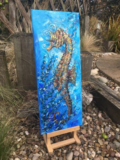 Seahorse Sea Swirls Original Canvas Painting