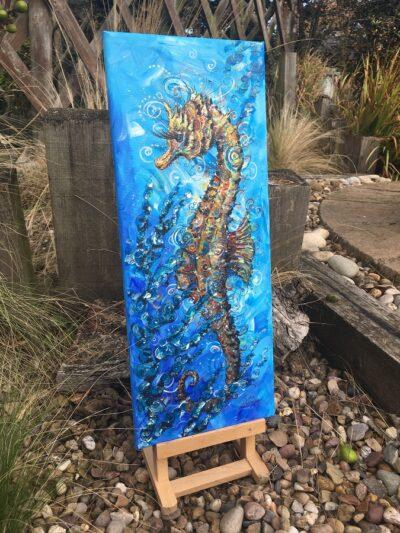 Seahorse Sea Swirls Original Canvas Painting