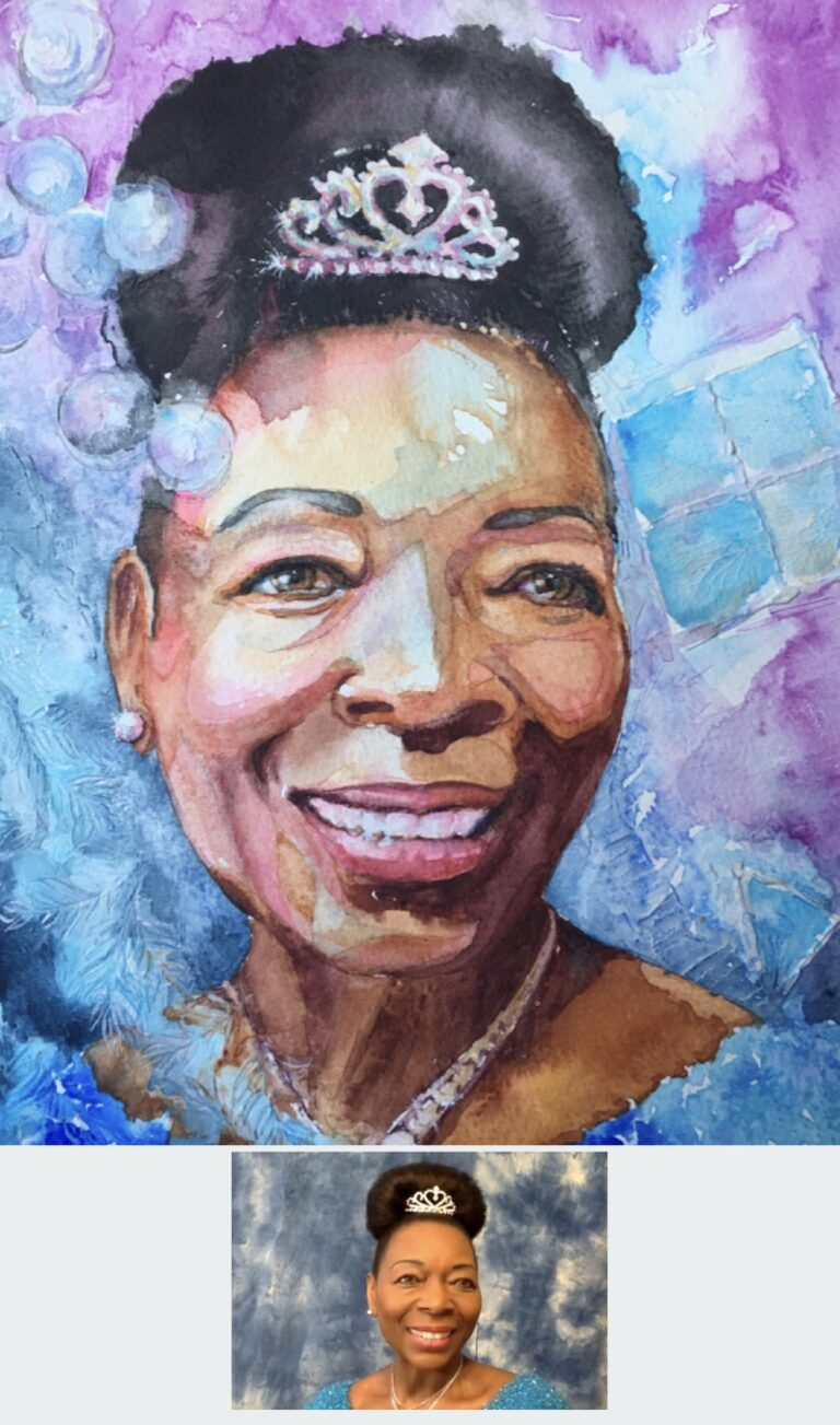 "Watercolour and texture paste - portrait of Baroness Floella Benjamine. Capturing a gentle pause and smile as she connects with people that reach out to her. Round and square shapes from her playschool TV days, and Caribbean leaves referencing her roots. size 12""x9"". By Sophie Huddlestone 2020"