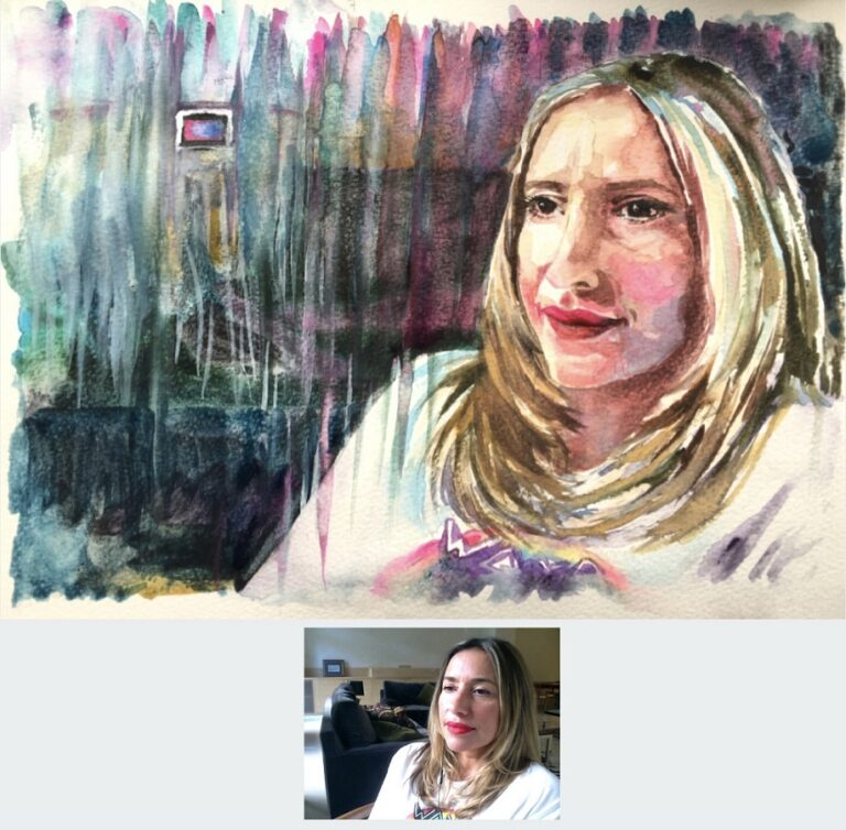 "Watercolour - portrait of Melanie Blatt size 12"" x 9"" by Sophie Huddlestone 2020. The painted small square box you see in the top corner represents a home sweet home picture which she had in her home."