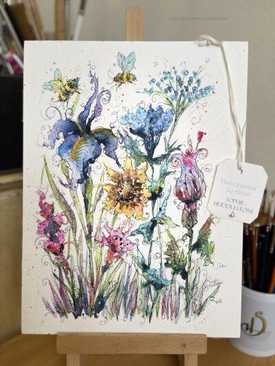 Flowers Bee Wild Original Painting