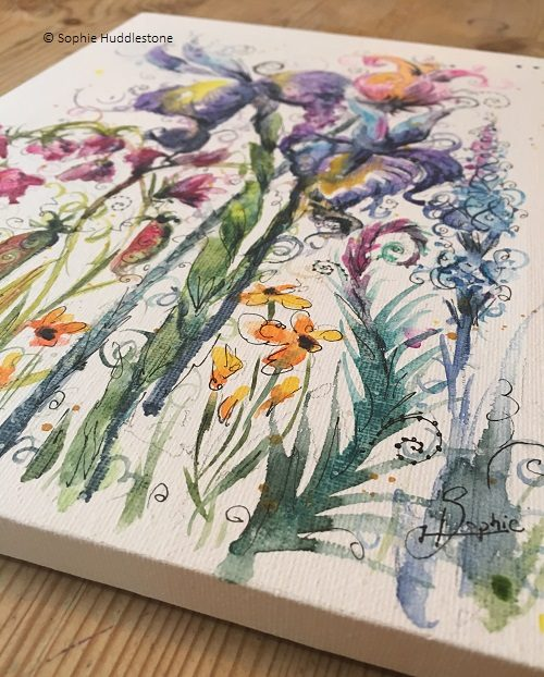flowers on canvas by Sophie Huddlestone
