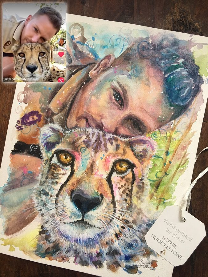 watercolour portrait with animal by Sophie Huddlestone