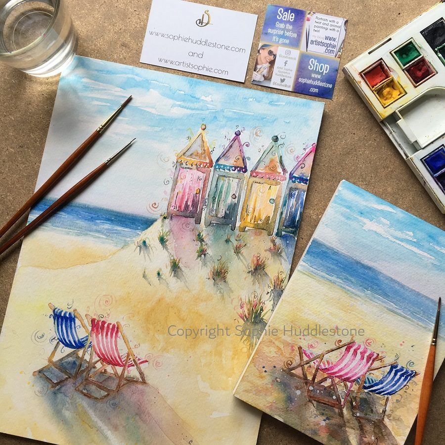 seaside huts and deckchairs by SH