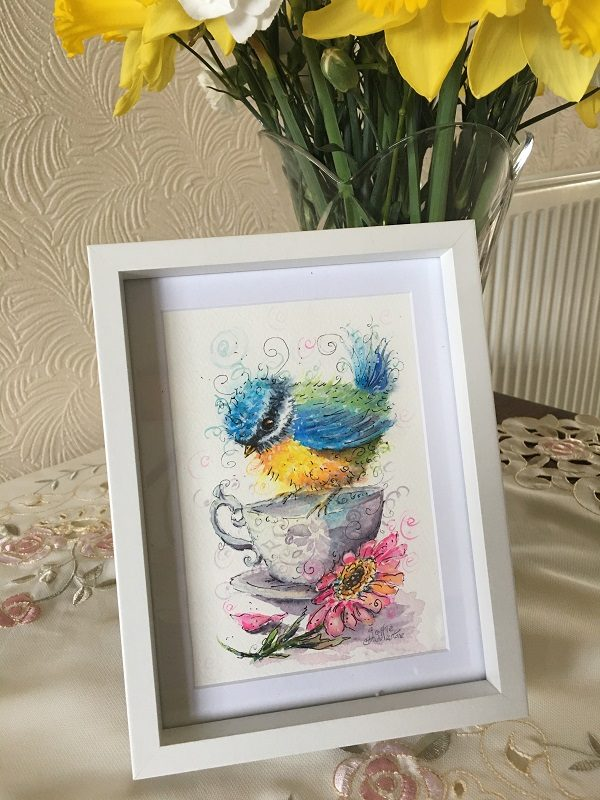This painting was a birthday gift, and Lorna loved it, in a white frame from Marks & Spencer's. Watercolour bird 7x5 inch by Sophie Huddlestone . Lorna said